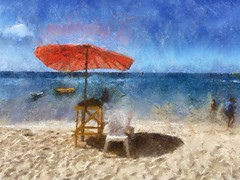 The red umbrella. (MIREILLE) Tags: red beach umbrella painting landscape thailand phuket seashore autopainter iphoneography