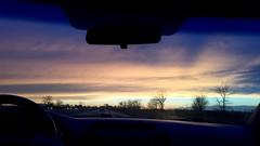 Dashboard Dreamland (supernova9) Tags: blue sunset sky orange cloud sun cars nature beautiful car yellow clouds illinois twilight glow sundown outdoor dusk widescreen headlights front dashboard windshield nightfall iphone 16x9 2015 iphone6s