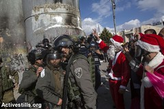 Bethlehem protest, West Bank, 18.12.2015 (Activestills) Tags: christmas theater palestine westbank protest performance demonstration bethlehem weapons israeliarmy occupation borderpolice topimages annepaq