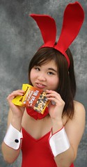 May I Munch Some Mix? (emotiroi auranaut) Tags: girl cute sweet adorable charm charming teen teenage teenager bunny rabbit costume food tasty nutritious trailmix red white pretty lovely beauty beautiful attractive hope hoping hopeful mrnature canteen