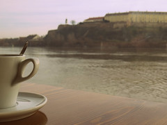 cup of coffee on a boat (sunshine lydia) Tags: morning cup water coffee boat ship coffeecup earlymorning sunny sharp depthoffield espresso goodmorning fortress danube earlyinthemorning coffeetime whitecup sunrising rivermagic morninglover morningonriver