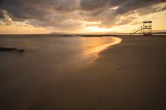 agia marina II (Andreas Lf) Tags: sea summer beach water clouds sunrise dawn mediterranean tripod dramatic nopeople greece le crete lifeguardtower chania sirui minoltaaf20mm28 lightcraftworkshopnd500 sonyalphailce7