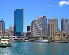 Sydney. Circular Quay and ferry departing. (denisbin) Tags: beach manly sydney railway railwaystation swimmers operahouse centralstation sydneycentralstation