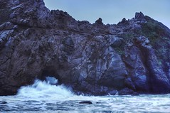 High tide or low tide, I'll be by your side (PeterThoeny) Tags: ocean california seascape beach water rock coast twilight surf raw day waves pacific outdoor dusk tide bigsur tunnel pacificocean keyhole hdr hightide californiacoast pfeifferbeach bolder photomatix fav100 1xp nex6 sel50f18