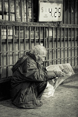 They'd Seen His Face Before (remofoto) Tags: california blackandwhite man monochrome us newspaper blackwhite losangeles chinatown unitedstates streetphotography