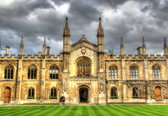 Corpus Christi College (Raphooey) Tags: door uk roof cambridge england college grass canon eos university doors stones stonework towers lawn entrance clocktower east gb colleges corpus anglia parapet 70d christistone roofscastellations