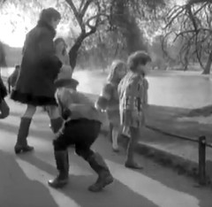 Safe landing (theirhistory) Tags: park trees girls lake tree boys water fashion children clothing russia path 1960s wellies wellingtons sovietunion ussr cccp englandlondon