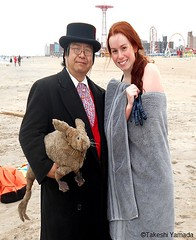 Dr. Takeshi Yamada and Seara (Coney Island Sea Rabbit) at the winter swimming event by the Coney Island Polar Bear Club at the Coney Island Beach in Brooklyn, New York on January 17 (Sun), 2015.  mermaid.  20160117Sun DSCN3457=0020pC2 (searabbits23) Tags: winter ny newyork sexy celebrity art beach fashion animal brooklyn asian coneyisland japanese star yahoo costume tv google king artist dragon god cosplay manhattan wildlife famous gothic goth performance pop taxidermy cnn tuxedo bikini tophat unitednations playboy entertainer samurai genius donaldtrump mermaid amc mardigras salvadordali billclinton hillaryclinton billgates aol vangogh curiosities bing sideshow jeffkoons globalwarming takashimurakami pablopicasso steampunk damienhirst cryptozoology freakshow barackobama polarbearclub seara immortalized takeshiyamada museumofworldwonders roguetaxidermy searabbit ladygaga climategate