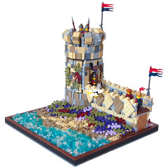 Spice Islands Watchtower (BrickCurve) Tags: sea tower castle water island lego vegetation watchtower moc guildsofhistorica