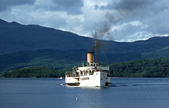 'Maid of the Loch' nearing Luss. Jun'81. (David Christie 14) Tags: lochlomond luss maidoftheloch