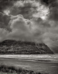 Storm Coast (mjardeen) Tags: blackandwhite bw white storm black texture beach nature water grass clouds oregon landscape ir blackwhite seaside sand pattern outdoor f14 or sony tide hill logs infrared converted konica cloudporn hexanon a7ii 720nm 57mm lifepixel landscapesshotinportraitformat a7m2