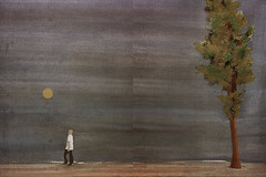 man and tree (monowave) Tags: sky sun moon abstract man tree mobile painting landscape walk ios