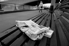 I READ THE NEWS TODAY, OH BOY... (DESPITE STRAIGHT LINES) Tags: street woman news london wet thames river bench newspaper nikon flickr pavement smoke debris windy southbank observe commute getty commuter fags discarded cigarettes smokes riverthames gettyimages peoplewatching bankside londontown oldnews woodenbench paulwilliams londonsunrise d700 nikon2470mm nikond700 packetofcigarettes londonssouthbank despitestraightlines despitestraightlinesatgettyimages gettyimagesesp yestredaysnews