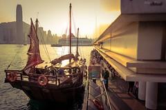 -Wharf when sunset (AllenPan02) Tags: sunset orange sun hongkong star boat dock sony wharf alpha