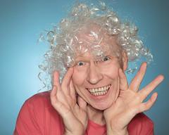 Be afraid VERY afriad (seegarysphotos) Tags: portrait people man silly smile happy person scary hands funny teeth madness wig daft nightmares garylewis seegarysphotos