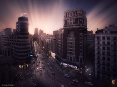 Gran Vía de Madrid (Iván F.) Tags: madrid street sky urban cloud spain long exposure fuji via gran f2 12mm samyang xt1 fujistas