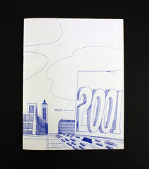 """2001,"" by Wesley Willis (MCAD Library) Tags: 2001 pendrawing wesleywillis mcad mcadlibrary mcadartistsbookcollection drawingimagemaking citiesandtownsinart"