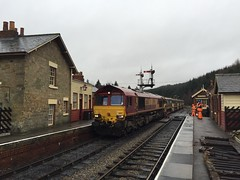 66167 and autoballasters pass through Levisham 1Mar16