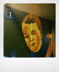 At Lembeek station (@necDOT) Tags: streetart polaroid sx70 graffiti lembeek impossibleproject color600
