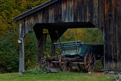 Hay Wagon (SunnyDazzled) Tags: autumn green history fall grass leaves barn rural wagon village antique farm rustic shed equipment hay millbrook delawarewatergap