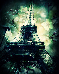 Eiffel Tower, Spring Green (L L Stewart) Tags: paris france green art french spring blossoms digitalart eiffeltower latoureiffel bloom eiffeltowerparis