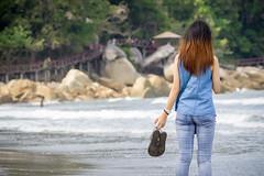 Claire (bdrc) Tags: portrait beach girl lens claire seaside minolta zoom candid sony wave shore malaysia tele casual 75300mm kl teluk chempedak f4556 a6000 asdgraphy