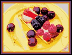 wallflower (milomingo) Tags: pink red food abstract black yellow fruit cheese dessert gold berry purple bright border vivid frame cracker multicolored photoart posterized plated a~i~a