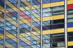 Building, Leiden (Mary Berkhout) Tags: windows reflection building architecture leiden office colours nederland thenetherlands ramen architectuur zuidholland weerspiegeling geometrie kleuren achmea maryberkhout