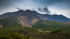 Volcanic View (ErikFromCanada) Tags: travel trees storm mountains green beautiful beauty japan clouds forest island japanese grey view cloudy hiking smoke dramatic wideangle stormy hike drama landescape ridges smouldering sakurajima activevolcano vlocano a7r
