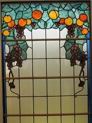 """Vitrail Raisins (1925), Charles Schneider, provenant de la maison d'Ernest Schneider  Epinay-sur-Seine - Exposition """"Schneider, les enfants d'une oeuvre"""", muse Mendjisky, Paris XVe (Yvette Gauthier) Tags: paris muse exposition vitrail verre schneider artdco paris15 charlesschneider matreverrier musemendjisky"""