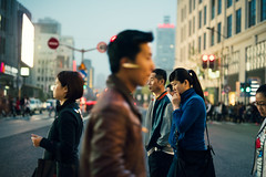 Busy Crossing (Jon Siegel) Tags: china road street girls people motion men boys walking 50mm movement nikon women crossing shanghai candid 14 chinese sigma business pedestrians d810 sigma50mmf14art