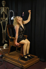 The Houdini Girl and her Electric Chair! (Dayle Krall:Most Accomplished Female Escape Artist) Tags: sideshow houdini electricchair richardsherry daylekrall ladyhoudini sherryandkrallmagic thehoudinigirl