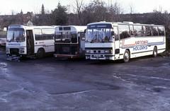 1984-01-13 NDC 501W Leyland Leopard-Plaxton, FHN 845J Bristol RELH-ECW, AEF 29Y Leyland Tiger-Plaxton 6501, 4291, 1029 of United,  Darlington Central Works (John Carter 1962) Tags: bus buses nbc united nationalexpress uas bristolre leylandleopard leylandtiger unitedauto
