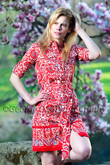 Portrait of a Woman Posing in a Designer Dress (George Oze) Tags: red portrait fashion vertical standing outdoors newjersey spring model dress blond attractive thin summerdress designerclothing beautifulpeople fit lookingaway caucasian magnoliatree selectivefocus fashionmodel flwers onewoman handinhair 34length springdress toryburch 3035yearsold 3549yearsold hunetrdoncounty