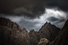 Changing Weather (a galaxy far, far away...) Tags: mountain nature clouds ominous eerie dolomites dolomiti rosengarten wather catinaccio