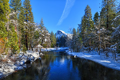 Half Dome and the Merced River (markwhitt) Tags: california trees vacation usa snow tourism colors beautiful beauty river outdoors nationalpark nikon scenery colorful scenic roadtrip adventure yosemite halfdome yosemitenationalpark yosemitevalley mercedriver markwhitt markwhittphotography sentineldrivebridge