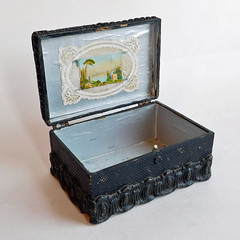 Antique Victorian / Edwardian Papier Mache Hinged Black Lacquer Trinket Box (karalennox) Tags: black vintage box antique 1800s victorian etsy ornate edwardian papiermache papermache trinket jewelrybox hinged lacquer molded dresserbox