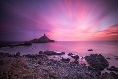 The Genoese Tower (Maximecreative) Tags: longexposure morning sunset sea sky tower clouds sunrise lowlight rocks mediterranean tour corse watch corsica dramatic wideangle motionblur coastal pointe f28 atmospheric select archipelago les genoese genoise sanguinaires parata 14mm samyang leefilters bigstopper nd06hardgrad sw150