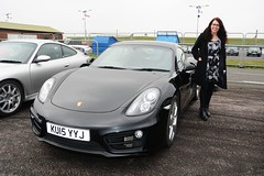Carmen's  Cayman (Fast an' Bulbous) Tags: santa england woman hot sexy girl car hair glasses pod automobile long dress boots babe chick vehicle brunette cougar milf meet leggings pistonheads worldcars