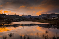 Sunset on the lake (Artur Tomaz Photography) Tags: trees sunset panorama house lake nature water grass rural reflections landscape countryside paisagem windenergy sopedrodosul candal conutryside
