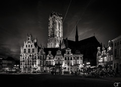 Mechelen at Night (A.Reef (off for a while)) Tags: bw monochrome night cityscape g innamoramento