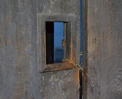 OBSTACLES, OPPORTUNITIES, AND OPEN DOORS. (It's a Keeper) Tags: door old blue orange paint rustic entrance chain scripture antiguaguatemala doorwindow dsc3049 matthew778