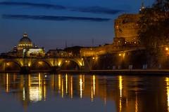 The dome and the castle (savolio70) Tags: rome roma castle cupola dome tiber tevere sanpietro castelsantangelo notturno riflesso cupolone bluehours savolio stefanoavolio