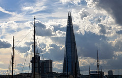 View from St Katharine Docks (DncnH) Tags: sky london thames skyline clouds river stkatharinedocks theshard