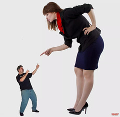 A Losing Argument (iggy62pop2) Tags: sexy point hands angry upskirt heels giantess heightcomparison shrinkingman