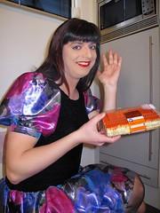 Orange tompouce (Paula Satijn) Tags: blue girl cake yummy shiny dress silk skirt tgirl transvestite pastry satin miniskirt tompouce gulr