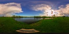 pondview (severalsnakes) Tags: park sky lake storm public water clouds pond 360 missouri ricoh spherical degrees theta sedalia thetas theta360 cloverdell saraspaedy