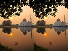 Masjid As-Salam, Puchong | 3D Stereography (AnNamir™ c[_]) Tags: sunrise stereophoto 3d nikon islam malaysia stereography masjid puchong d300s annamir masjidassalam 3dstereography manual3d paralelphoto