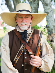 Texian Infantryman (wyojones) Tags: man hat infantry beard soldier uniform gun texas rifle houston lynchburg reenactor texan deerpark texican texasindependence sanjacintoday sanjacintobattlefieldstatehistoricalpark sanjacintobattlereenactment