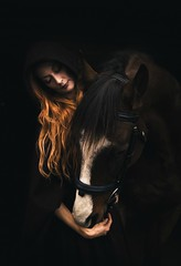 Désirée (Jen MacNeill) Tags: portrait horse woman love mystery dark fantasy cloak redhair equine